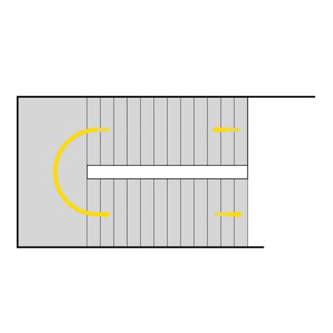 zweiläufig gegenläufige Treppe mit Zwischenpodest