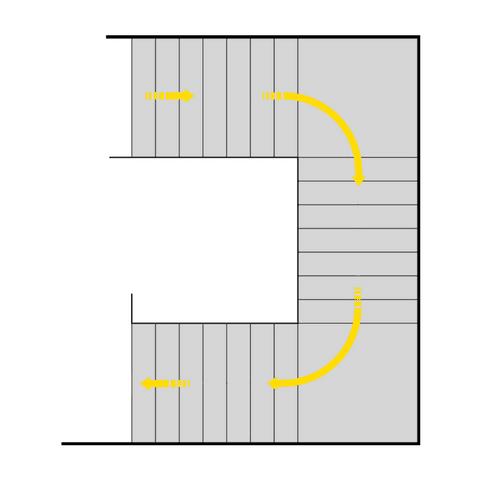 dreiläufig, zweimal abgewinkelte Treppe mit Zwischenpodesten